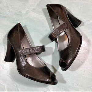 Gianni Bini mary jane peep toe gray heels size 9.5